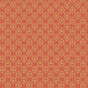 Lewis & Irene Cheiveley - 5636 - Gold Peacock Feathers on Orange (Metallic) - A244.2 - Cotton Fabric